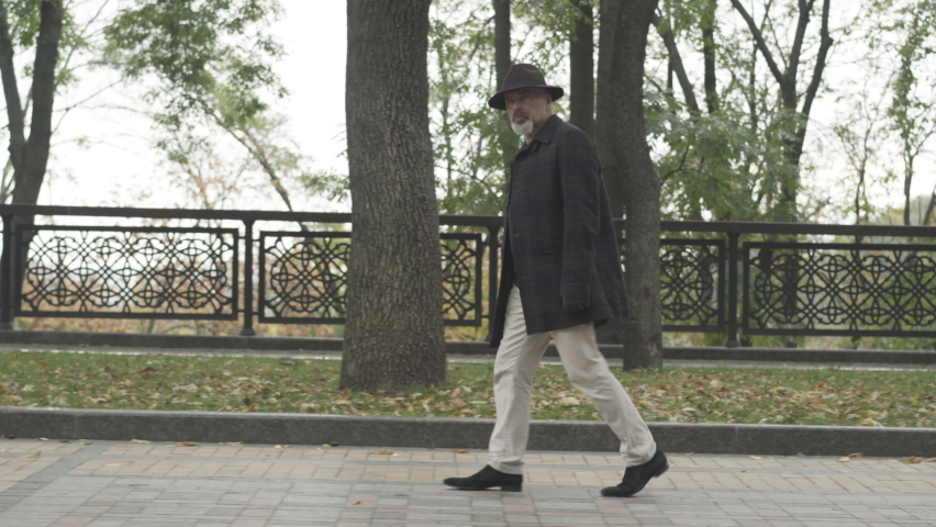 Camera follows careful spy or detective in elegant outfit walking along park alley on cloudy day. Side view wide shot of confident serious Caucasian man in hat and coat strolling outdoors.
