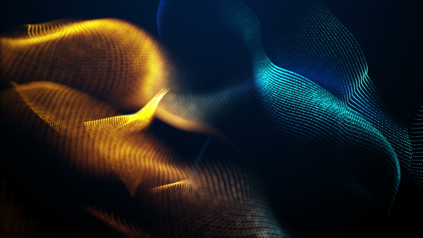 Abstract polygon grid wireframe as swirl glowing waves. 4K UHD 3D video loop blurred dynamic background.   Shutterstock HD Video #1062975322