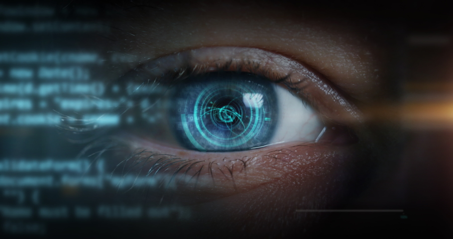 Cinematic macro of young male blu eye with latest innovative futuristic sophisticated high technology display application with augmented reality holograms for personal safety scanning.