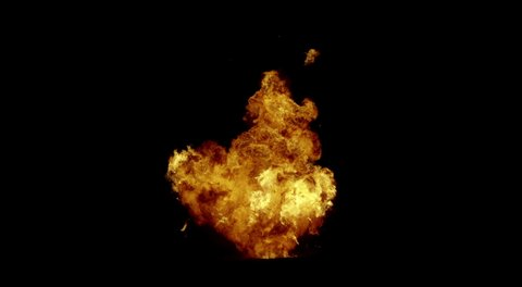 Big FireBall Explosion Wide Angle Slow Motion With Falling Debris on Fire.