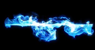 Abstract line of blue smoke on black. 4K loop motion background, light strokes visual element. Flowing neon fire, smoke, wisp in fluid waves. great for logo or compositions. 3D render
