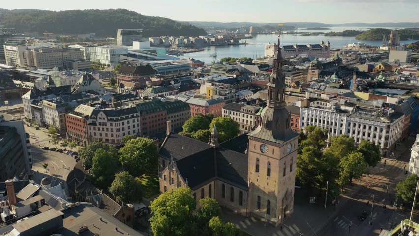 Oslo, Norway, Scandanavia.Beautiful 4K panoramic aerial video from flying drone to Oslo Cathedral (Oslo domkirke), the main church for the Church of Norway Diocese of Oslo. (Series) | Shutterstock HD Video #1062985807