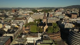 Oslo, Norway, Scandanavia.Beautiful 4K panoramic aerial video from flying drone to Oslo Cathedral (Oslo domkirke), the main church for the Church of Norway Diocese of Oslo. (Series)
