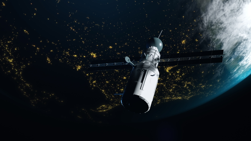 artificial satellite of the earth. satellite flying in space over the globe with a view of night cities Royalty-Free Stock Footage #1062993148