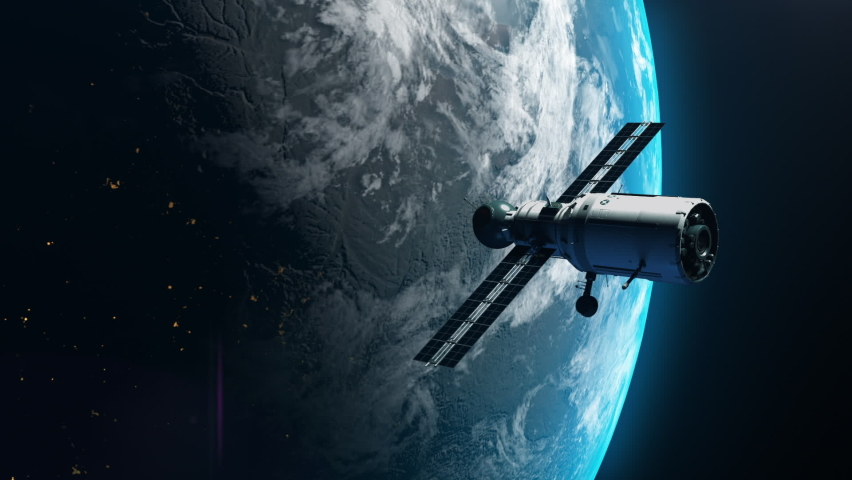 artificial satellite of the earth. a satellite flying in space over the globe Royalty-Free Stock Footage #1062993160