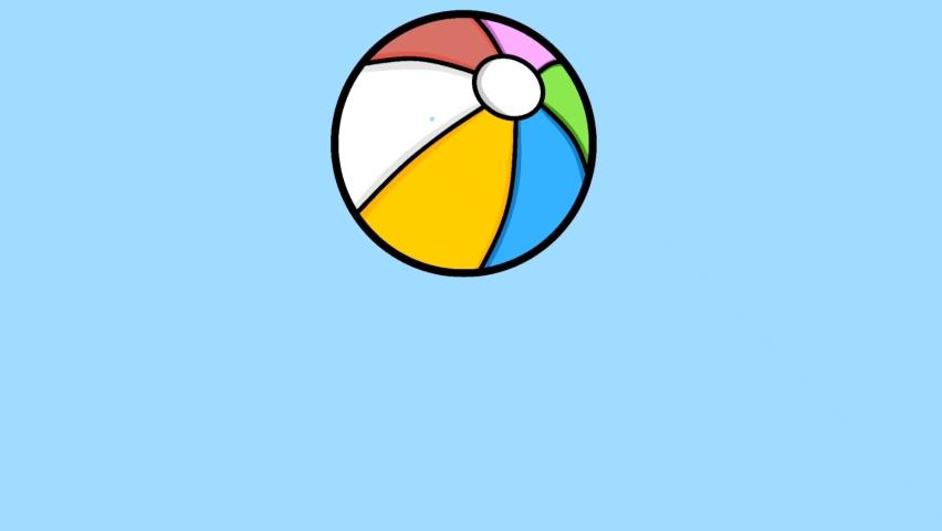 cartoon colorful bouncing beach ball logo animation video