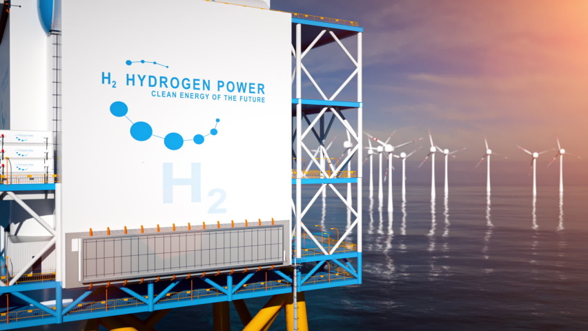 Hydrogen renewable offshore energy production - hydrogen gas for clean electricity solar and windturbine facility. 3d rendering. Royalty-Free Stock Footage #1063003243