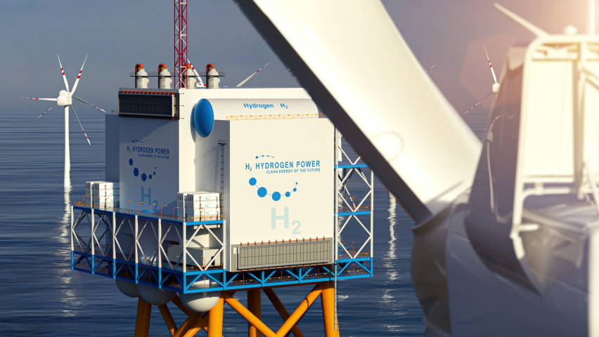 Hydrogen h2 renewable offshore energy production - hydrogen gas for clean electricity solar and windturbine facility. 3d rendering. Royalty-Free Stock Footage #1063003246