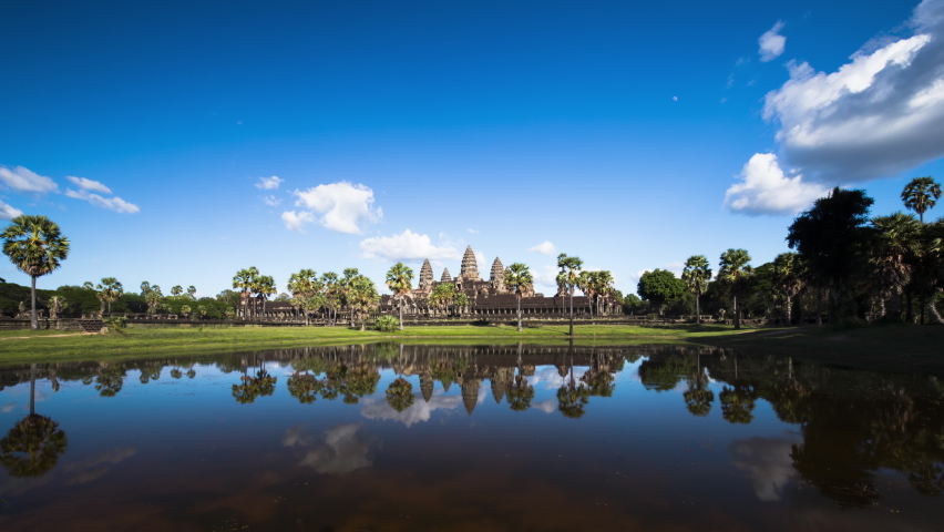 Angkor Wat with no people during covid-19 with a vivid polarised blue sky time lapse Royalty-Free Stock Footage #1063019485