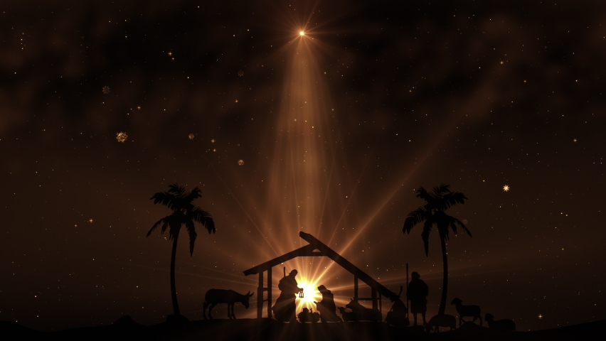 Christmas Scene with twinkling stars and brighter star of Bethlehem with sparkling nativity characters. Seamless Loop with Nativity Christmas story with twinkling stars and moving wispy clouds. 4k | Shutterstock HD Video #1063026289