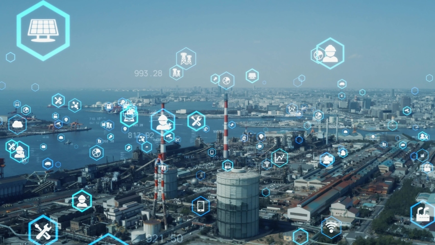 Industrial technology concept. Communication network. INDUSTRY 4.0. Factory automation. | Shutterstock HD Video #1063037512