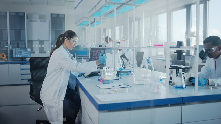 Modern Medical Research Laboratory: Team of Scientists Working with Pipette, Analysing Biochemicals Samples, Talking. Scientific Lab for Medicine, Microbiology Development. Advanced Equipment   Shutterstock HD Video #1063037797