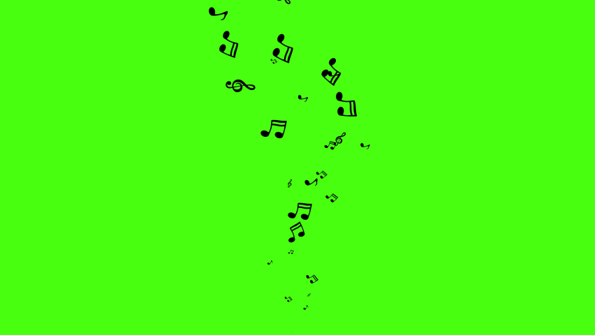 Animation flow black music notes on green background. Flying up musical symbols with Alpha channel. Music background with treble clef and notes. Template for music video clip or music compositions. 4K