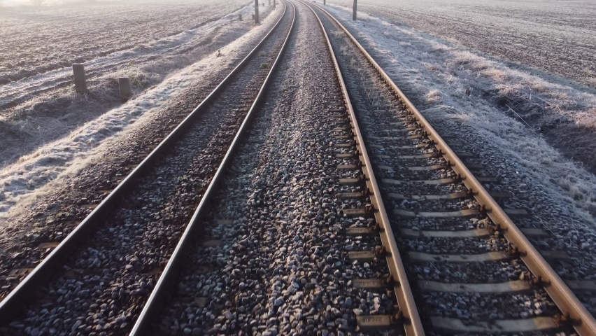 Train journey point of view from driver's view. Railway Track Seen from Train Perspective POV. | Shutterstock HD Video #1063057621