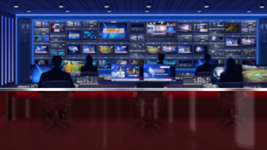 Seamlessly looping cctv control room (tv studio) background video for news broadcast.