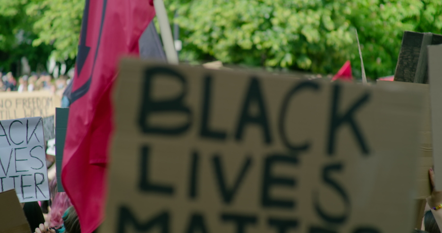 Black Lives Matter BLM Protest in Europe. Solidarity Demonstration with Signes against Police Brutality and Injustice. Crowds of People Gathering for Racial Equality