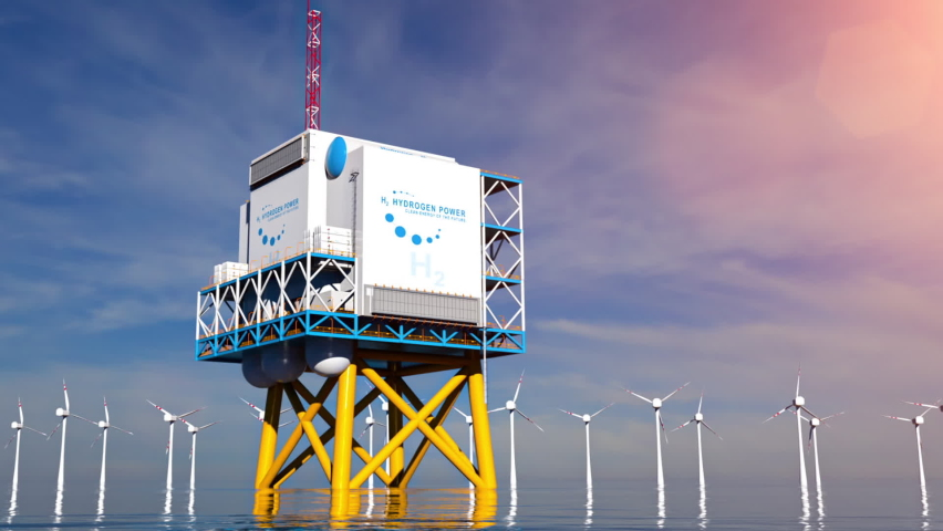 Hydrogen renewable offshore energy production - hydrogen gas for clean electricity solar and windturbine facility. 3d rendering. Royalty-Free Stock Footage #1063087456