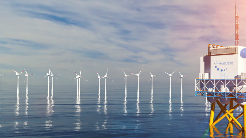 Hydrogen renewable offshore energy production - hydrogen gas for clean electricity solar and windturbine facility. 3d rendering. Royalty-Free Stock Footage #1063087459
