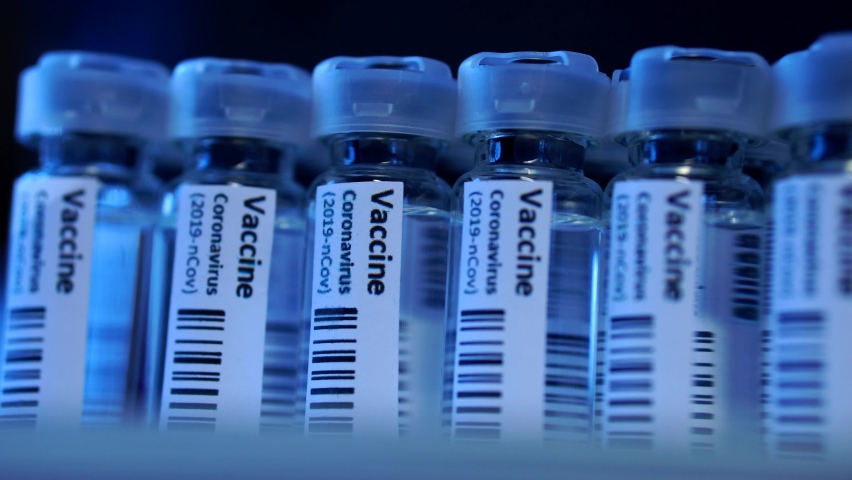 Covid-19 Coronavirus Vaccine Production Line, Cinematic Close Up Of Vaccination Manufacturing. | Shutterstock HD Video #1063108240