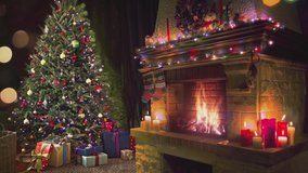 Cozy room with a Christmas atmosphere. Burning fireplace, glowing Christmas tree. Comfortable home environment with candles. Spirit of Christmas and New Year. Xmas. Loop video background. 4K, 30 fps.