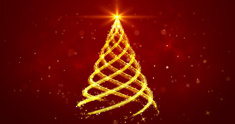 Golden light streaks shaped as Christmas tree on red background. Abstract Xmas tree animation. Winter holiday 4k video background. | Shutterstock HD Video #1063109050