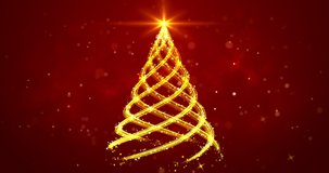 Golden light streaks shaped as Christmas tree on red background. Abstract Xmas tree animation. Winter holiday 4k video background.