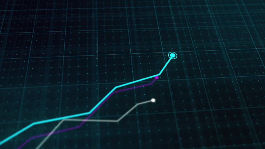 Growing line chart graph - business development competition concept animation. Hi tech style charts with grid. Camera movement with depth of field. Royalty-Free Stock Footage #1063113460
