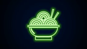 Glowing neon line Asian noodles in bowl and chopsticks icon isolated on black background. Street fast food. Korean, Japanese, Chinese food. 4K Video motion graphic animation.