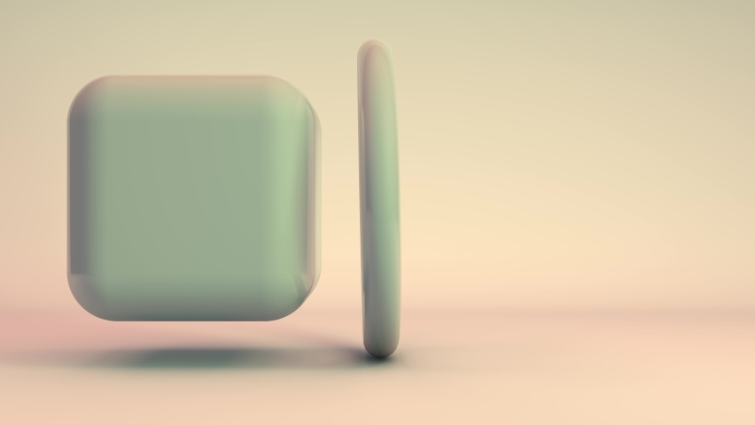 3D animation of a beautiful abstract white cube that turns into a sphere and passes through a ring-shaped portal. Futuristic animation, geometric still life. | Shutterstock HD Video #1063133014