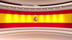 Tv studio. News room. Studio Background. Spain. Spanish flag. Flag background. Newsroom bakground. Backdrop for any green screen or chroma key video production. Loop. 3D rendering.