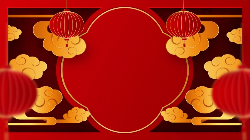 Happy chinese new year 2021 Ox Zodiac sign,  Happy new year 2021. with gold paper cut art and craft style on red background. lanterns and asian elements with craft style. 4K loop video with copy space | Shutterstock HD Video #1063140937