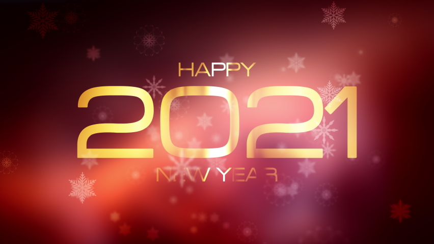Happy new year 2021 festive background concept. 4K 3D Beautiful Falling Snowflake Happy New Year magical flare light leak. The Happy New Year 2021 golden shining text on blurry blinking winter light. | Shutterstock HD Video #1063159234