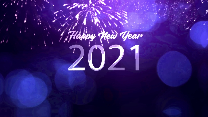2021 New year Celebration 4K animation - (Purple and Blue Colors ) New year 2021 Greeting With Fireworks  - Happy New year 2021 Royalty-Free Stock Footage #1063165030