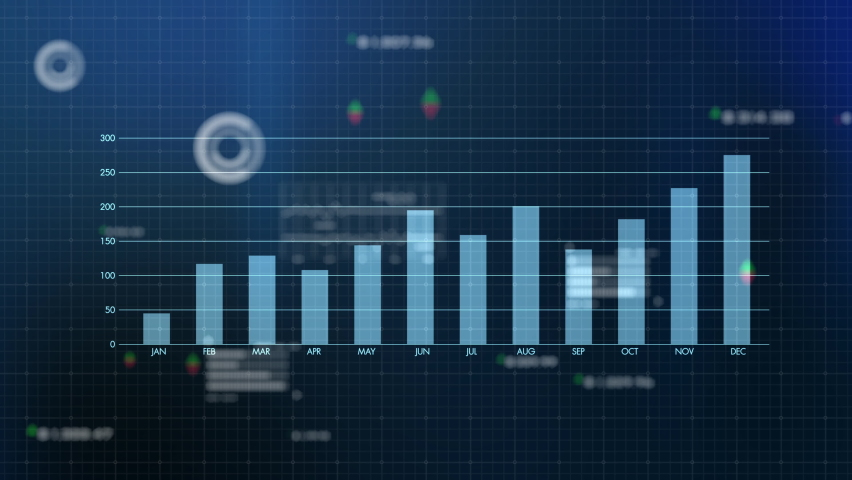 Futuristic computer screen big data analytic science technology HUD interface, business finance investment symbol artificial intelligence graph and data analysis. Royalty-Free Stock Footage #1063166113