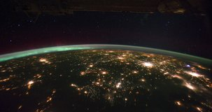 4k ProRess Timelapse : Aurora Borealis Pass Over United States at Night. Michingan penisula halfway video. Aurora Borealis over Eastern Canada until the sunrise come out. Image Courtesy of NASA.