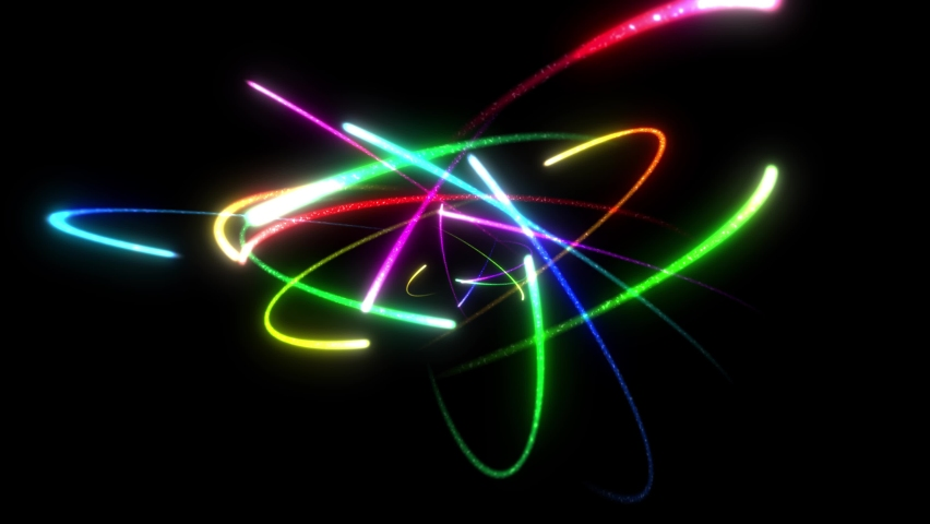 Rotating photons in glowing colors Royalty-Free Stock Footage #1063173454