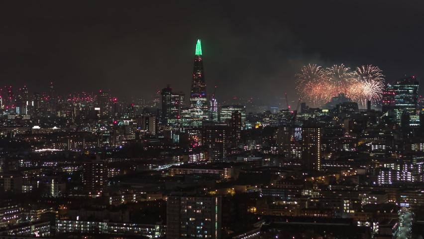 Superb Fireworks, New Year Celebrations, Establishing Aerial View Shot of London UK, United Kingdom