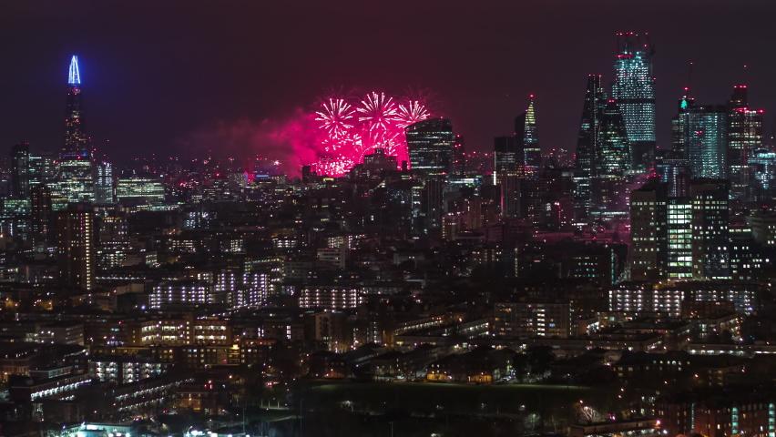 Amazing Fireworks, New Year Celebrations, Establishing Aerial View Shot of London UK, United Kingdom