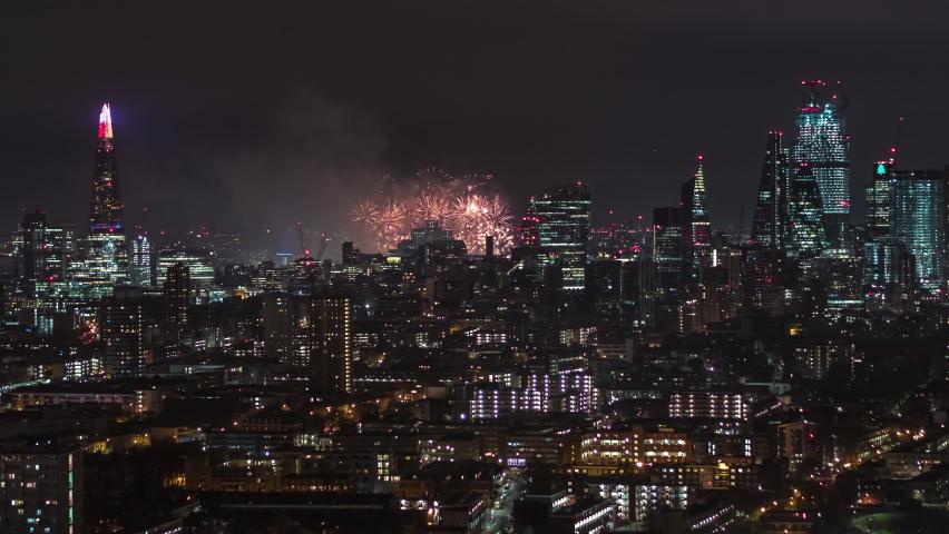 Stunning Fireworks, New Year Celebrations, Establishing Aerial View Shot of London UK, United Kingdom