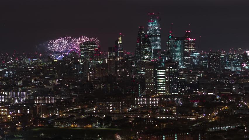 Beautiful Fireworks, New Year Celebrations, Establishing Aerial View Shot of London UK, United Kingdom