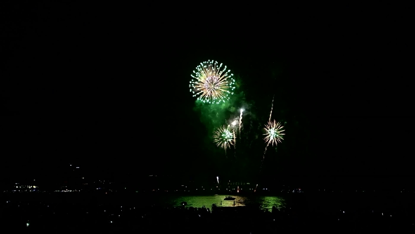 Multicolor fireworks night scene in Pattaya International Fireworks Festival, Chonburi, Thailand, Royalty-Free Stock Footage #1063177711