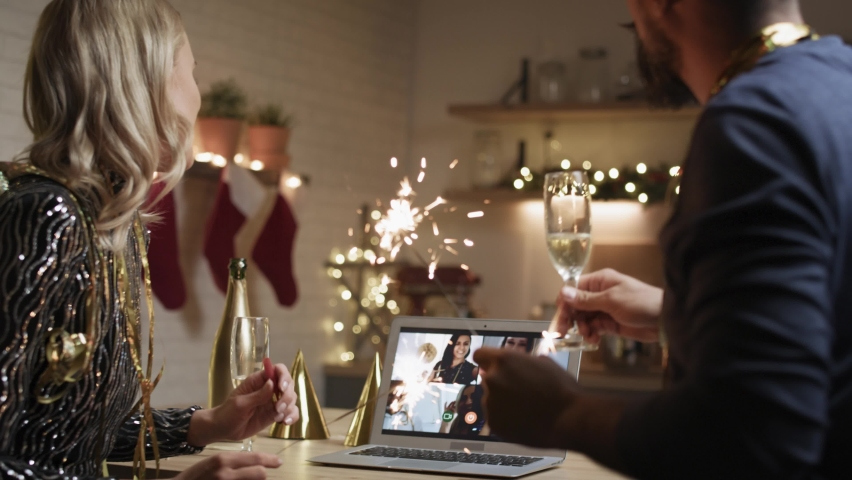 Video of friends during the New Year's Eve video call. Shot with RED helium camera in 8K. | Shutterstock HD Video #1063180885