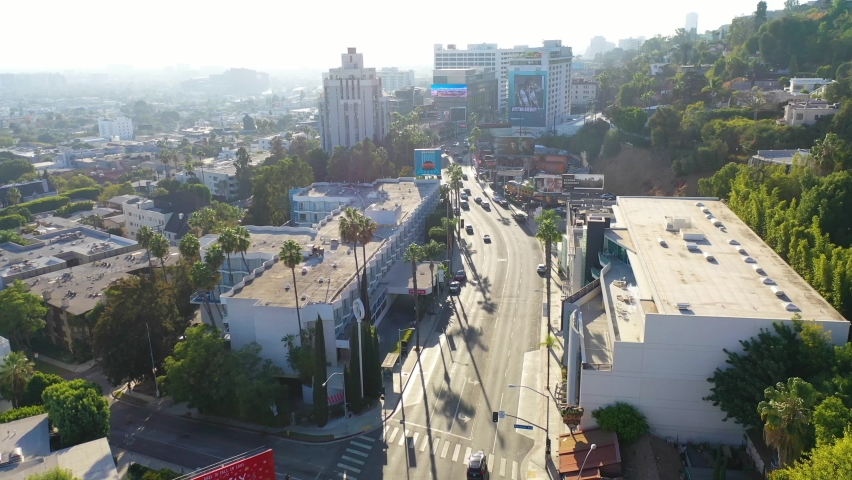 LOS ANGELES, CALIFORNIA - CIRCA 2020 - Aerial over Sunset Blvd Sunset Strip in West Hollywood, Los Angeles, California.