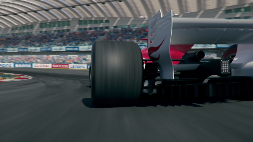 Dynamic rear view of a generic formula one race car driving along the track. Realistic high quality 3d animation. My own car design, no copyright or trademark infringement