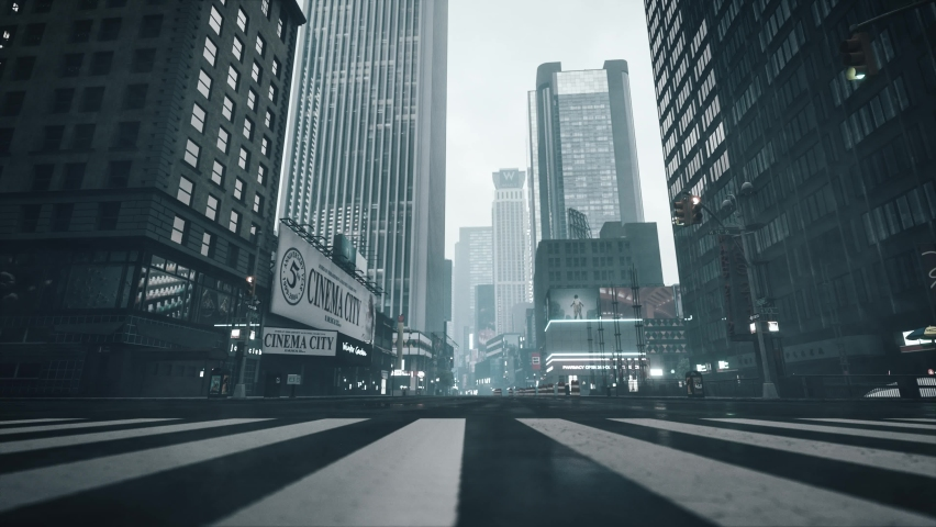 Empty streets during a pandemic. Manhattan during the COVID-19 Pandemic. Overcast in the big city. Empty streets during self-isolation. 3d visualization | Shutterstock HD Video #1063226494