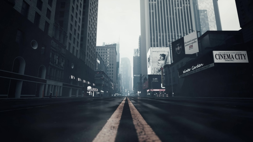 Empty streets of a big city. Empty New York streets. Empty streets during a pandemic. Bottom view of skyscrapers. 3d visualization | Shutterstock HD Video #1063226497
