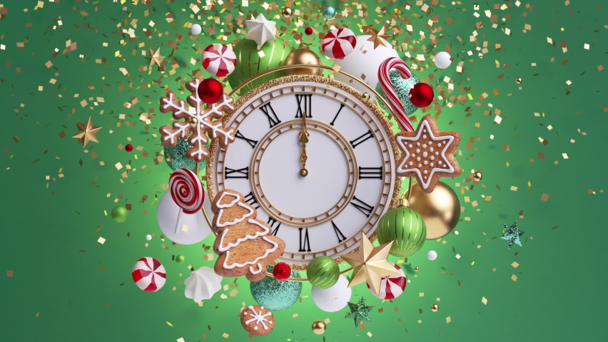 3d render, Christmas ornaments floating around vintage clock over green background. New Year celebration, midnight salute of sparkling confetti. Gingerbread cookies, candy, glass balls in slow motion Royalty-Free Stock Footage #1063237942