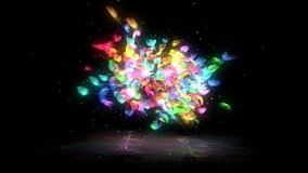 Abstract butterfly flying and blast into particles 4k footage, Colorful particles with abstract butterflies
