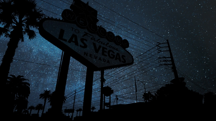 Las Vegas Sign by Night, Time Lapse with Stars and Milky Way in Background, Nevada, USA | Shutterstock HD Video #1063261657