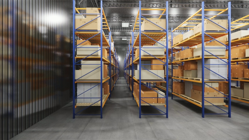 Warehouse with cardboard boxes inside on pallets racks, logistic center. Loft modern warehouse. Cardboard boxes on a conveyor belt in a warehouse, 4K 3D rendering  animation. | Shutterstock HD Video #1063276414
